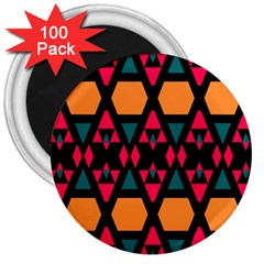 Rhombus And Other Shapes Pattern 3  Magnet (100 Pack)