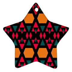 Rhombus And Other Shapes Pattern Star Ornament (two Sides)
