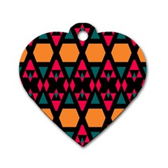 Rhombus And Other Shapes Pattern Dog Tag Heart (two Sides)