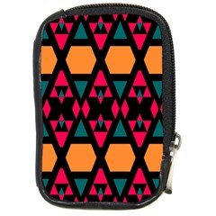 Rhombus And Other Shapes Pattern Compact Camera Leather Case