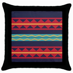 Rhombus And Waves Chains Pattern Throw Pillow Case (black)