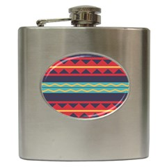 Rhombus And Waves Chains Pattern Hip Flask (6 Oz)