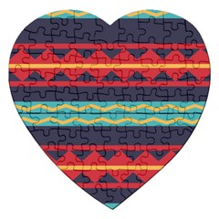 Rhombus And Waves Chains Pattern Jigsaw Puzzle (heart)