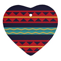 Rhombus And Waves Chains Pattern Heart Ornament (two Sides)