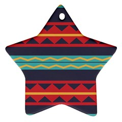 Rhombus And Waves Chains Pattern Star Ornament (two Sides)