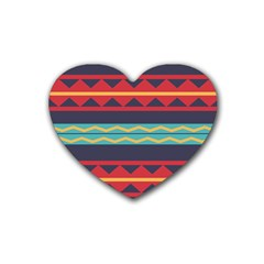 Rhombus And Waves Chains Pattern Heart Coaster (4 Pack)