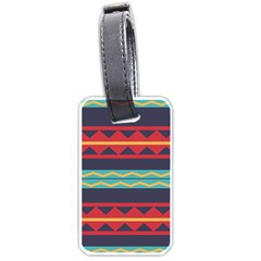 Rhombus And Waves Chains Pattern Luggage Tag (two Sides)