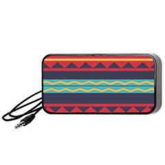 Rhombus and waves chains pattern Portable Speaker