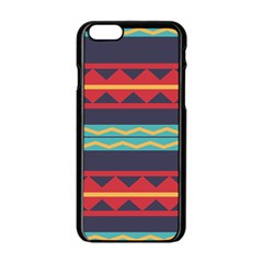Rhombus And Waves Chains Pattern Apple Iphone 6 Black Enamel Case
