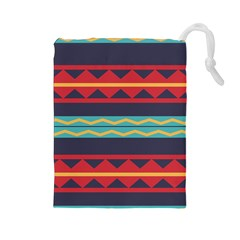 Rhombus And Waves Chains Pattern Drawstring Pouch