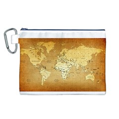 World Map Canvas Cosmetic Bag (L)