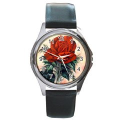 Red Rose #2 Round Leather Watch (silver Rim)