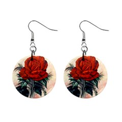 Red Rose #2 Mini Button Earrings