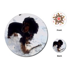 Black Tri English Cocker Spaniel In Snow Playing Cards (Round)