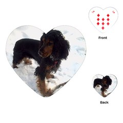 Black Tri English Cocker Spaniel In Snow Playing Cards (heart)