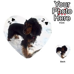 Black Tri English Cocker Spaniel In Snow Playing Cards 54 (Heart)