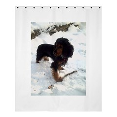 Black Tri English Cocker Spaniel In Snow Shower Curtain 60  x 72  (Medium)