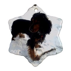 Black Tri English Cocker Spaniel In Snow Ornament (Snowflake)