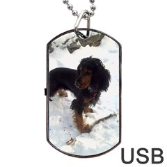 Black Tri English Cocker Spaniel In Snow Dog Tag USB Flash (One Side)