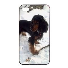 Black Tri English Cocker Spaniel In Snow Apple iPhone 4/4s Seamless Case (Black)