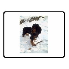 Black Tri English Cocker Spaniel In Snow Double Sided Fleece Blanket (Small)