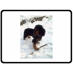 Black Tri English Cocker Spaniel In Snow Double Sided Fleece Blanket (Large)