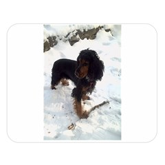 Black Tri English Cocker Spaniel In Snow Double Sided Flano Blanket (Large)