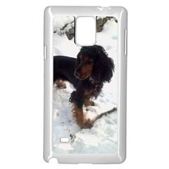 Black Tri English Cocker Spaniel In Snow Samsung Galaxy Note 4 Case (White)