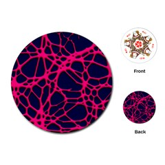 Hot Web Pink Playing Cards (Round)