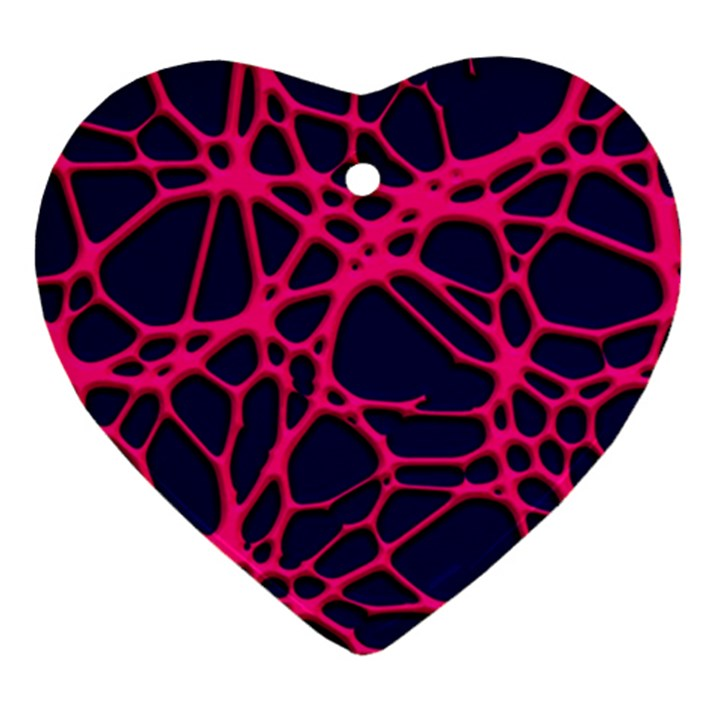 Hot Web Pink Heart Ornament (2 Sides)