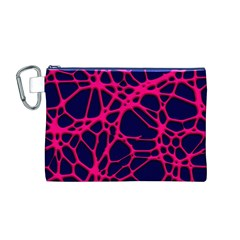 Hot Web Pink Canvas Cosmetic Bag (M)