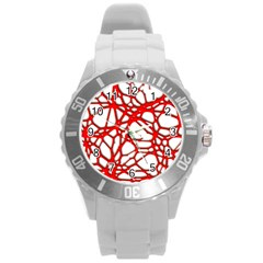 Hot Web Red Round Plastic Sport Watch (l)