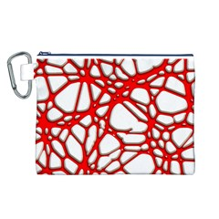Hot Web Red Canvas Cosmetic Bag (L)