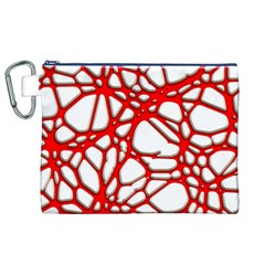 Hot Web Red Canvas Cosmetic Bag (XL)