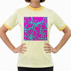Hot Web Turqoise Pink Women s Fitted Ringer T Shirts