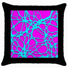 Hot Web Turqoise Pink Throw Pillow Cases (black)
