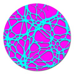 Hot Web Turqoise Pink Magnet 5  (round)