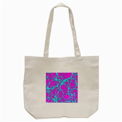 Hot Web Turqoise Pink Tote Bag (Cream)
