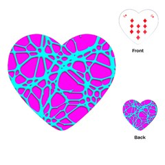 Hot Web Turqoise Pink Playing Cards (Heart)