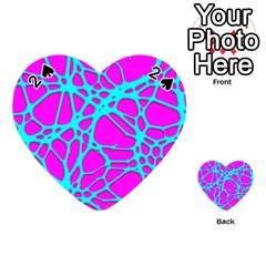 Hot Web Turqoise Pink Playing Cards 54 (Heart)