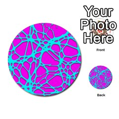 Hot Web Turqoise Pink Multi Purpose Cards (round)