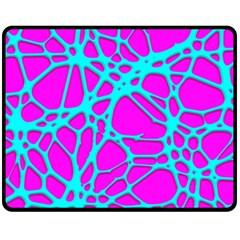 Hot Web Turqoise Pink Double Sided Fleece Blanket (Medium)