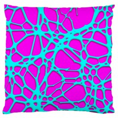 Hot Web Turqoise Pink Large Flano Cushion Cases (One Side)