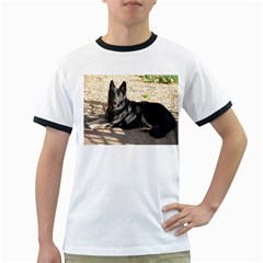 Black German Shepherd Laying Ringer T-Shirts