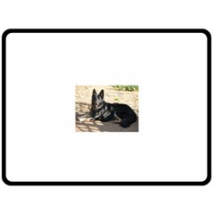 Black German Shepherd Laying Fleece Blanket (large)