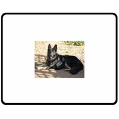 Black German Shepherd Laying Fleece Blanket (Medium)