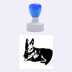 Black German Shepherd Laying Rubber Round Stamps (Medium)