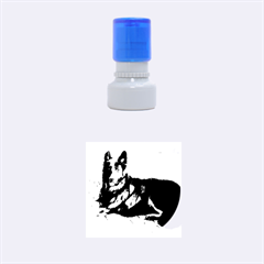 Black German Shepherd Laying Rubber Round Stamps (Small)