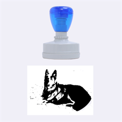 Black German Shepherd Laying Rubber Oval Stamps