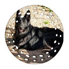 Black German Shepherd Laying Round Filigree Ornament (2Side)